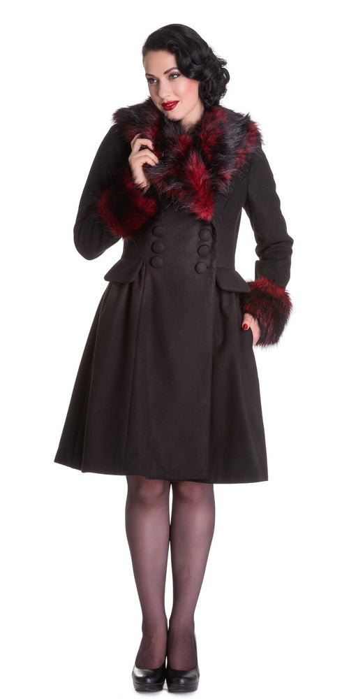Black Noir Winter Coat - Black/Red