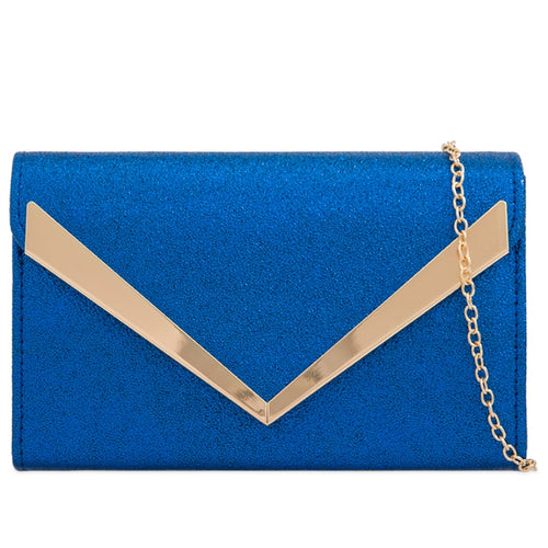 Royal Blue Metallic Clutch Bag