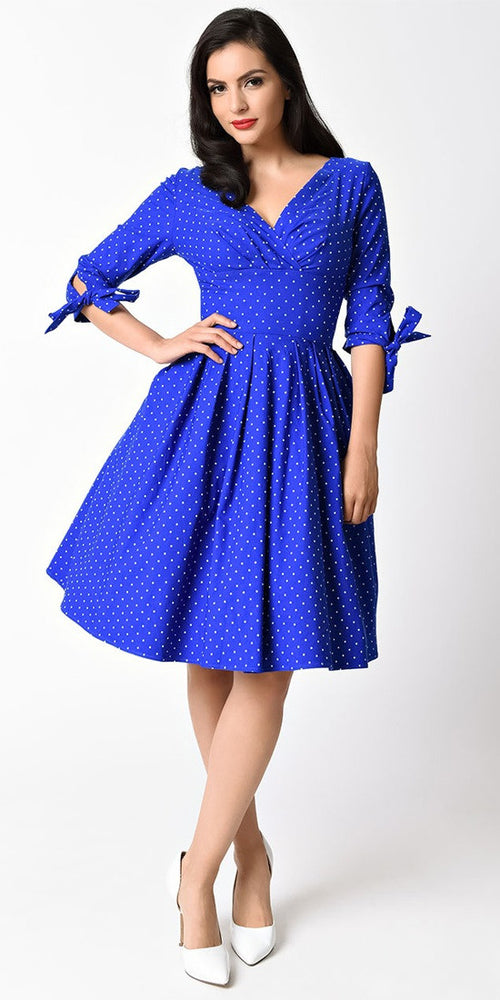 Diana Royal Blue With White Polka Dot Swing Dress