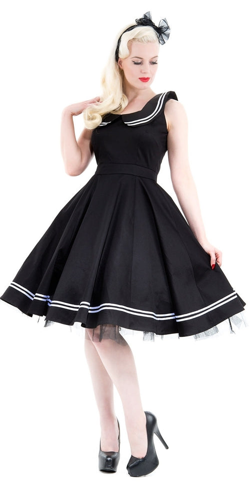 Black Sailor Swing Dress