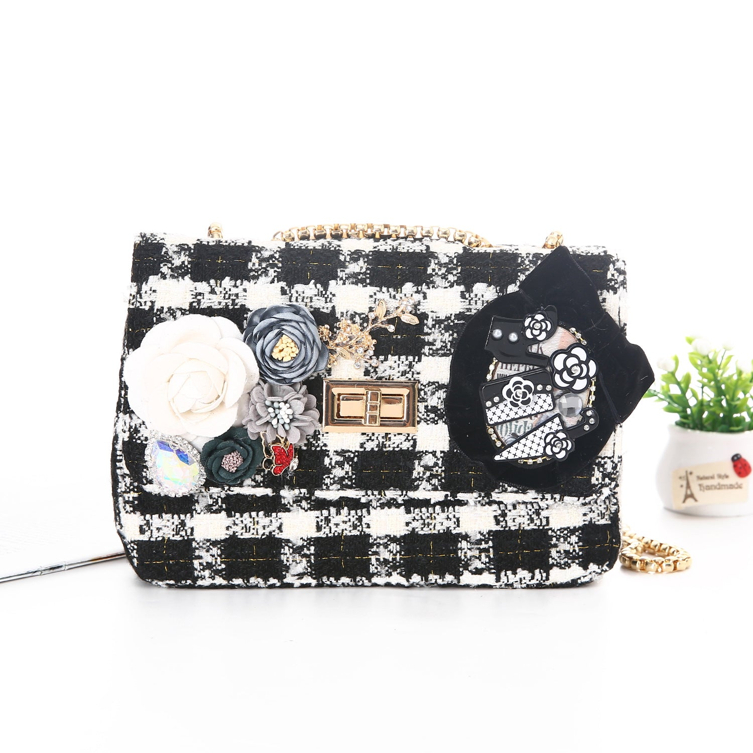 Sarah Black & White Tweed Handbag