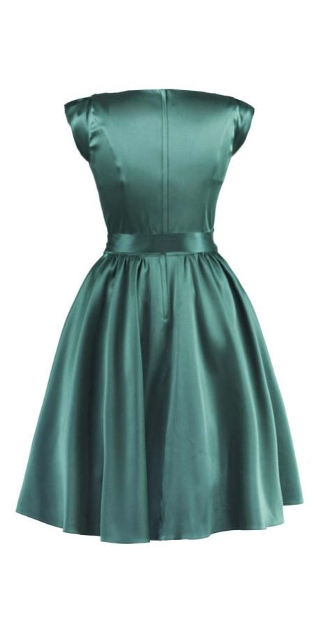Satin Swing Dress - Ivy Green