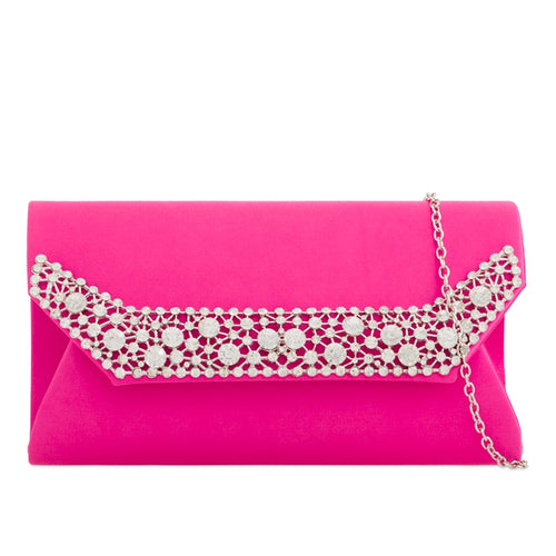 Satin Clutch Bag with Diamante Trim - Fuchsia
