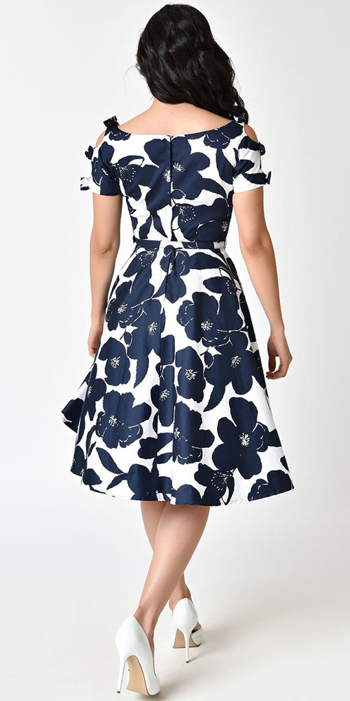 Selma Navy/White Floral Swing Dress