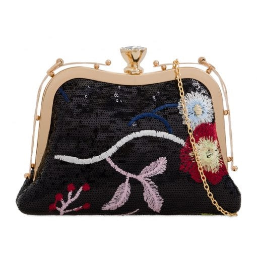 Black Sequins Floral Embroidery Clutch Bag