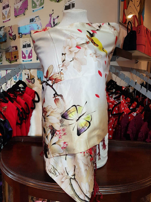 100% Silk Scarf Bird and Floral Design