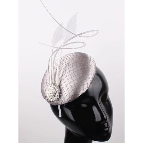 Silver Fascinator Pearl Brooch Detail