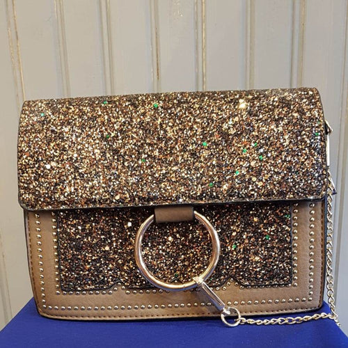 Sparkle Cross Body Bag - Brown