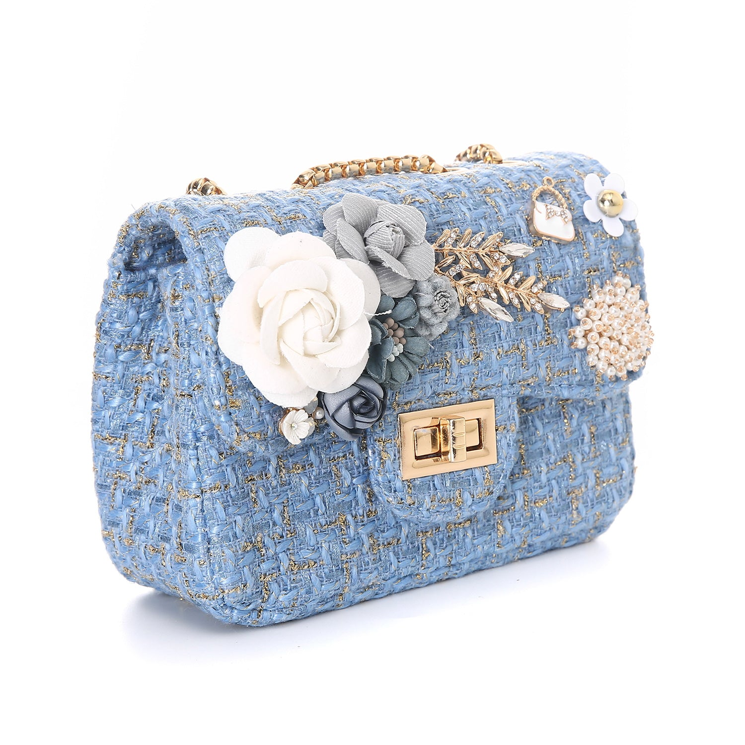 Stacey Baby Blue Tweed Handbag