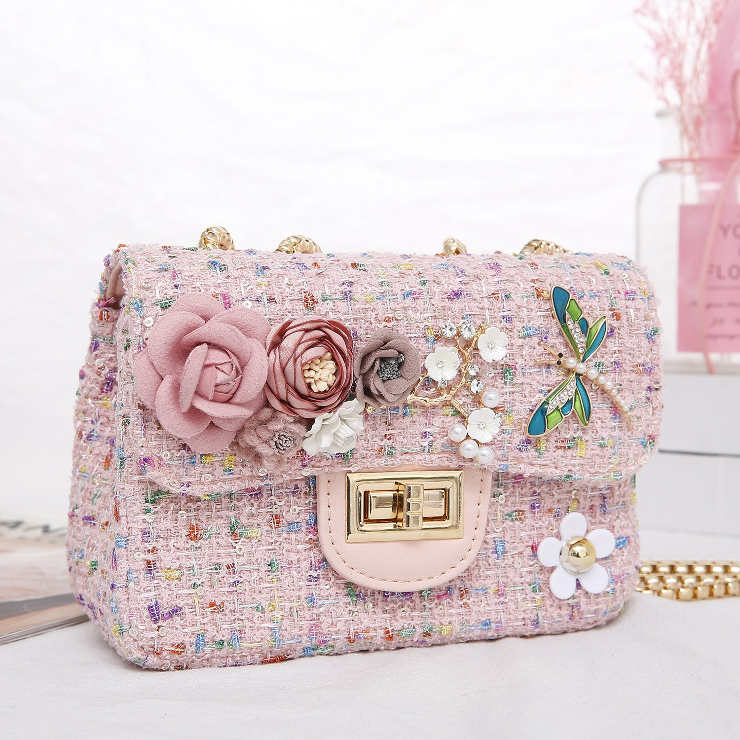Stacey Baby Pink Tweed Bag