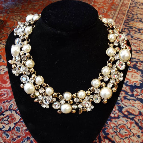 Pearl & Diamante Statement Necklace