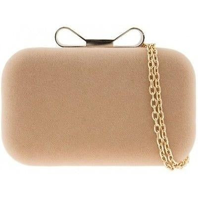 Small Suede Box Evening Clutch - Nude