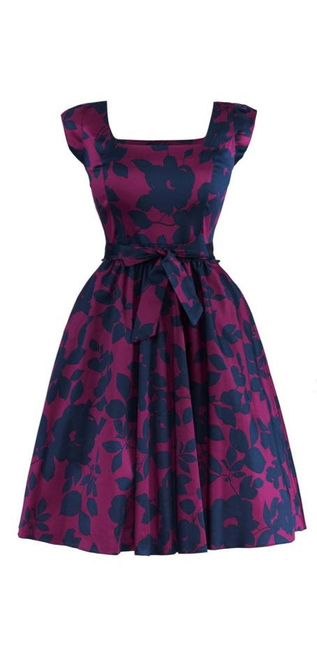 Swing Dress - Magenta & Navy