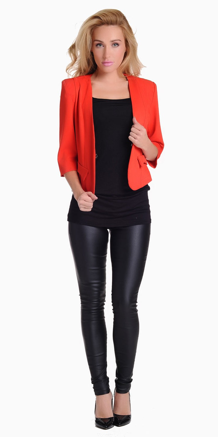Tailored Cropped Blazer Red