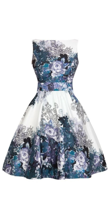 Vintage Tea Dress - Blue/Grey Collage