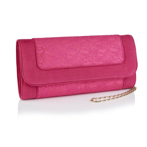 Faux Leather Clutch Bag - Fuchsia Pink