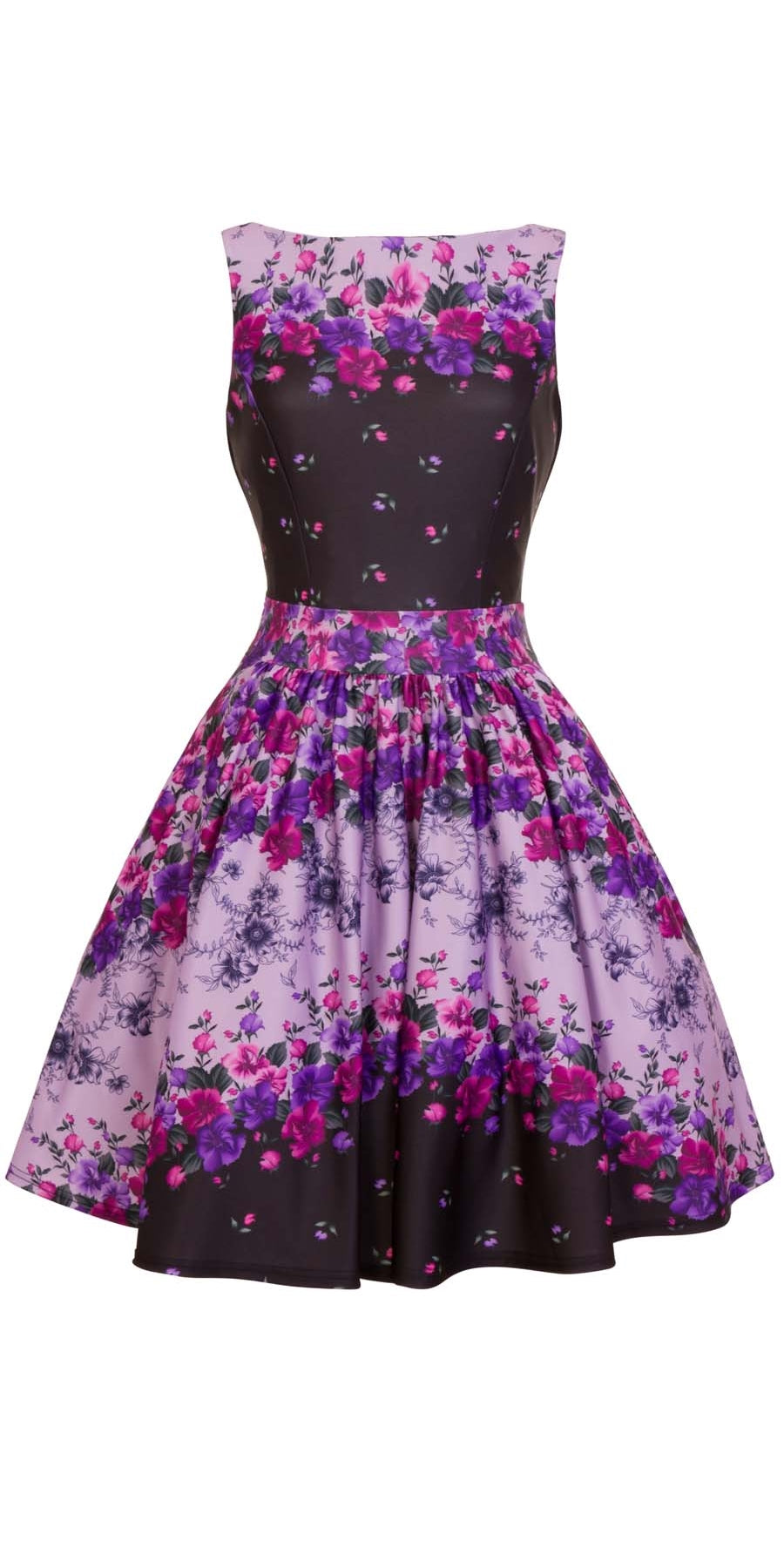 Twilight Border Purple Floral Tea Dress