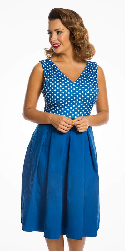 Valerie Blue Polka Dot Swing Dress