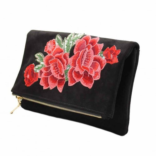 Velor Effect Clutch with Embroidered detail - Black