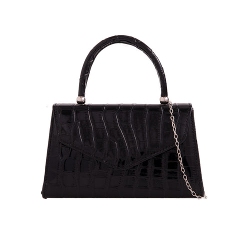 Vintage Purse Crocodile Embossed - Black