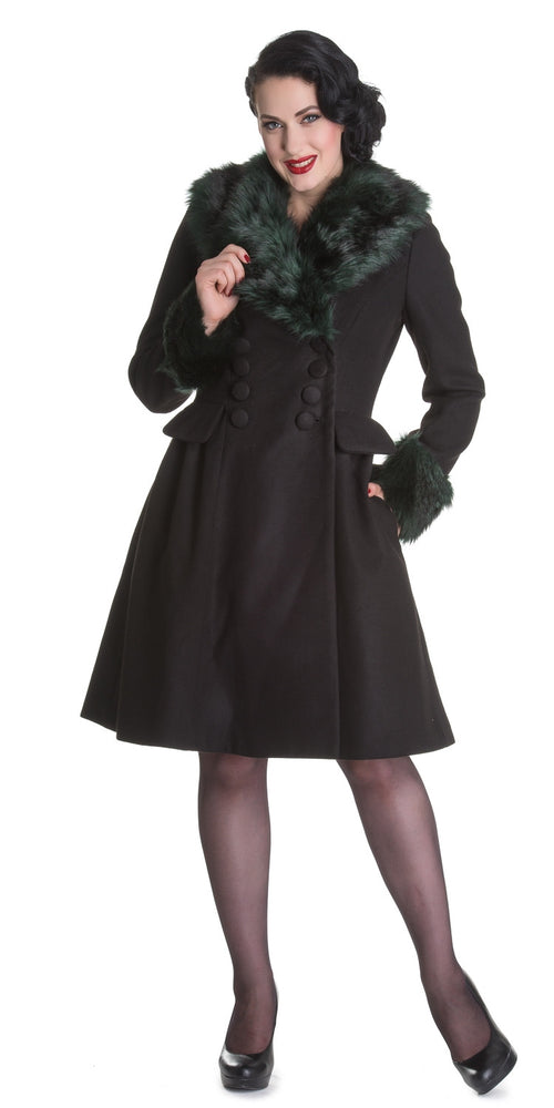 Black Noir Winter Coat - Black/Green