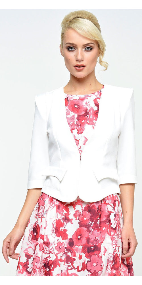 Tailored Cropped Blazer - White