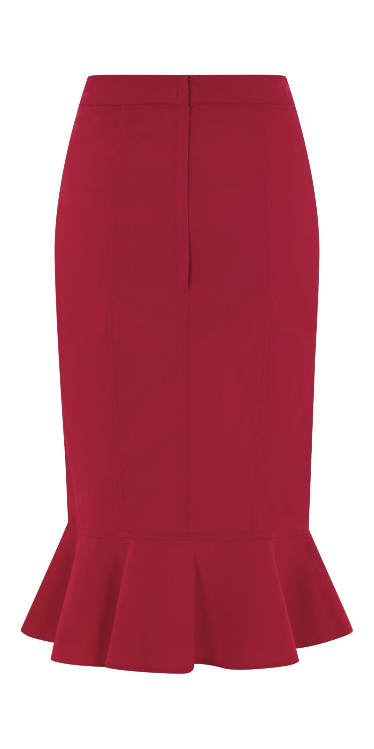 Winifred Fishtail Skirt - Red