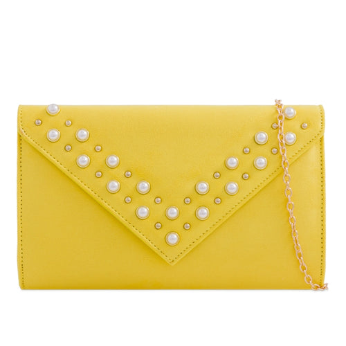Pearl Embellished Suede Clutch - Yellow