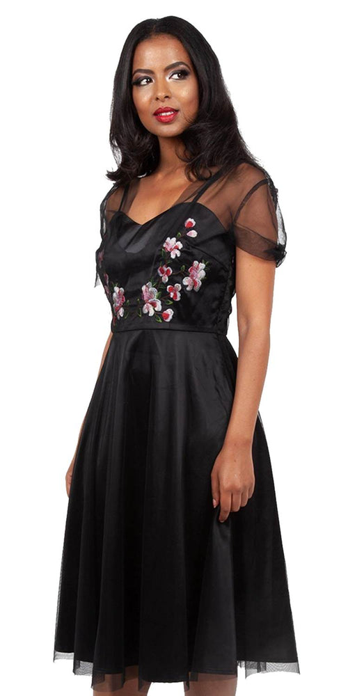 Zoe Black Floral Embroidery Dress