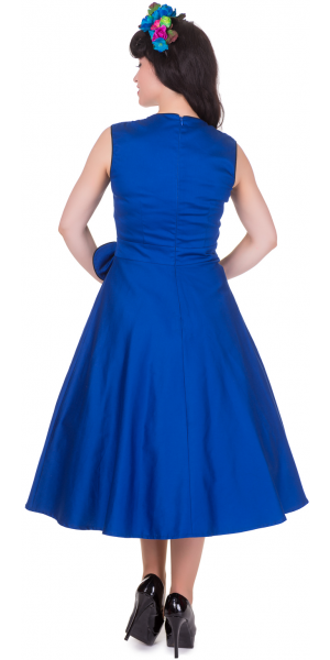 Classy Vintage Style Dress W/Bow Detail - Blue