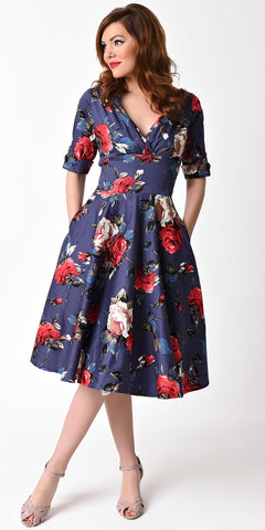 Annie Polka Dot & Floral Swing Dress