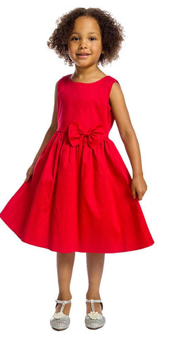 Satin Swing Dress - Red