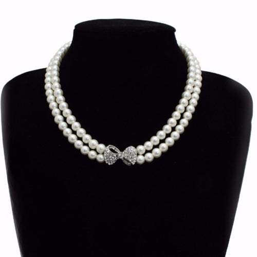 Pearl Necklace with Diamante Bow