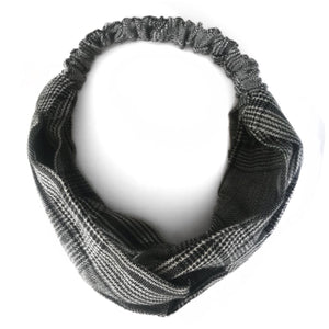 GREY TARTAN headband - LeatherFeather