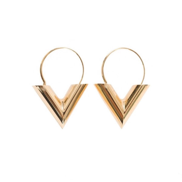V Earring Goud - LeatherFeather