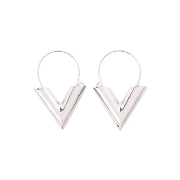 V Earring Zilver - LeatherFeather