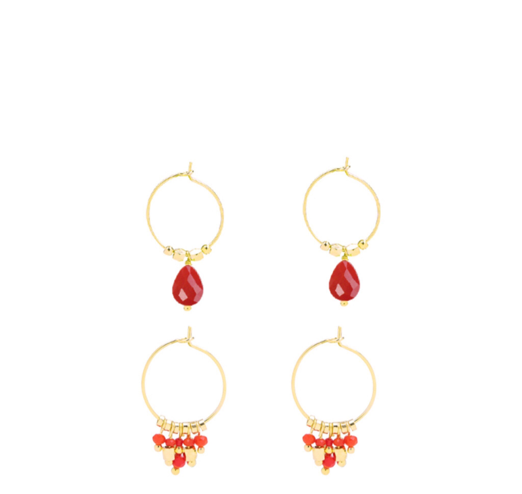 Liss Earring set Rood - LeatherFeather