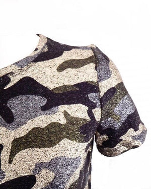 SHINY CAMO top - LeatherFeather