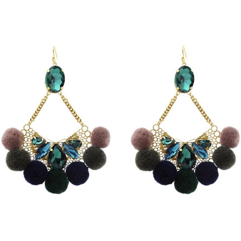 POMPON GLAM earrings - LeatherFeather