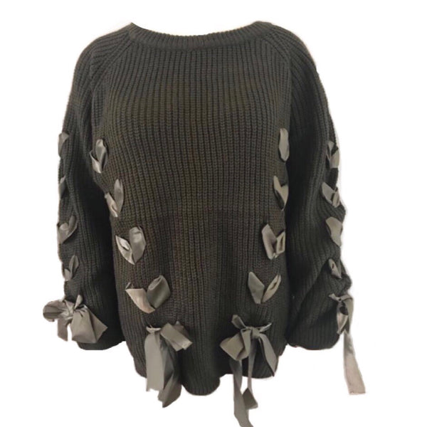 Mascha Sweater Army Green - LeatherFeather