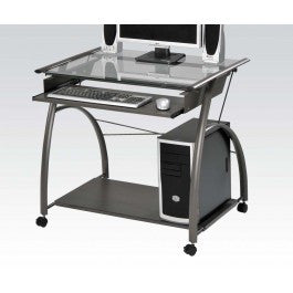ACMEF00118-Pewter Computer Desk W/gl Top
