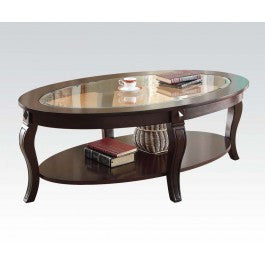 ACMEF00450-Oval Coffee Table W/gl Top @n