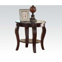 ACMEF00452-Round End Table W/gl Top @n