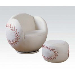 ACMEF05528-2pc Pk Baseball Chair , Ottoma