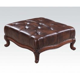 ACMEF05948-Dark Brown Leather Ottoman