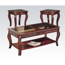 ACMEF06152-Cherry 3pc C/e Table W/gl Top