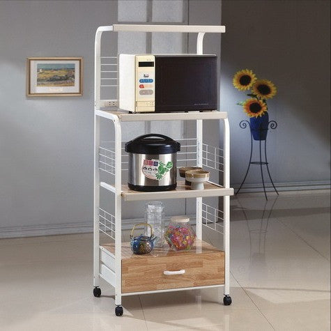 CROWN1304WH-Kitchen Shelf On Casters White