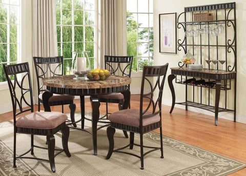 ACMEF18285-Brown Marble Top Dining Table