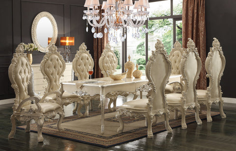 HD-13012 IVORY DINING TABLE SET 8 CHAIRS