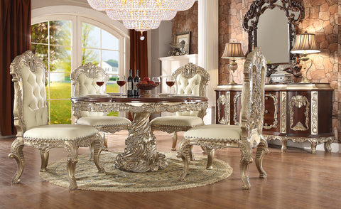 HD-8017 DINING ROUND TABLE SET 6 CHAIRS